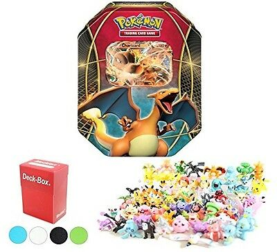 Pokemon Tin Featuring Charizard EX with 6 Pokemon Figures and Deck Box