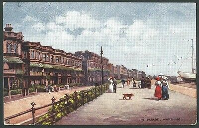 Worthing Sussex The Parade 1907 Tuck Oilette Artist Drawn Postcard