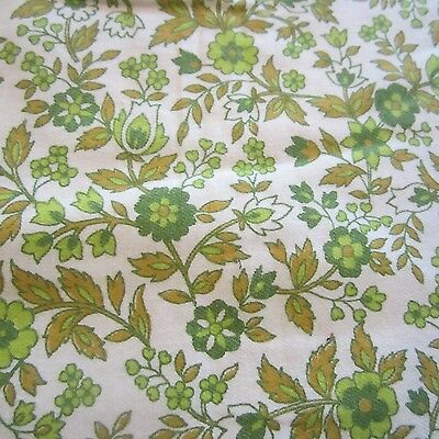 Vintage Fabric Quilt Craft Sew 1960S Herringbone Weave Green Leaf Brushed Cotton