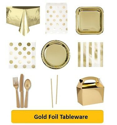 GOLD FOIL Party Range - Tableware Disposable Birthday Supplies Event Decorations
