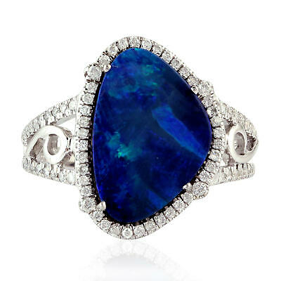 Natural Diamond Pave Australian Opal 18k White Gold Engagement Ring Gift Jewelry