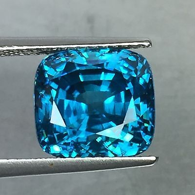 12.22 Cts Blue Zircon Square Cut Natural Cambodian Gemstone!!!