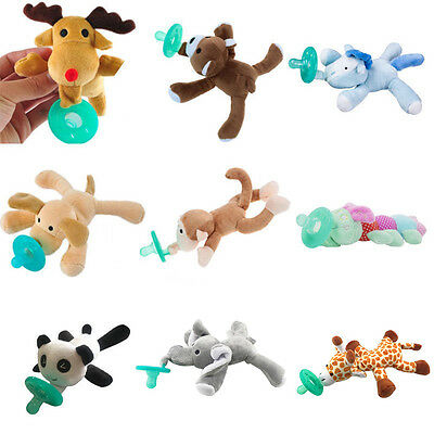 Infant Toddler Baby Safety Silicone Pacifiers Cute Plush Animals Nipples Tool