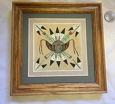 Vintage Navajo Sand Painting with Custom Frame Signed Sun Shield By Allen
