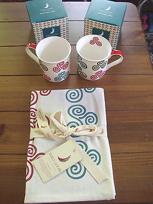 Triple Spiral China Coffee or Tea Mugs or Cups, and Tea Towel set, 3 pieces