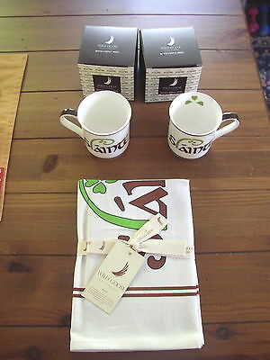 Slainte China Coffee or Tea Mugs or Cups, and Tea Towel set, 3 pieces