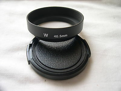 New Metal Wide Angle 40.5mm Screw-in Lens Hood + Cap