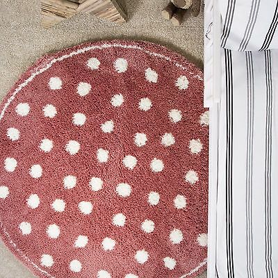 Kids Pink Polka Dot Circle Rugs Boys Girls Soft Fluffy Microfibre Bedroom Rugs