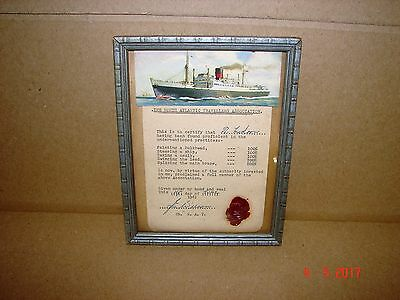 Rare 1961 North Atlantic Travellers Association Wax Sealed Ship Certificate,