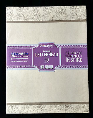 NIP Geographics English Rose Shimmer Letterhead Copier Printer Paper 48450
