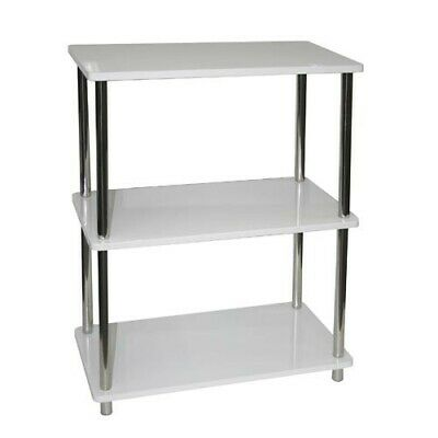 Shelf Rack with 3 Storage Shelves Bathroom Office Filing Bookcase Stacking