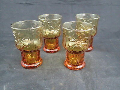 Indiana Depression Glass Amber Daisy Cups Mugs Goblets Set of 4