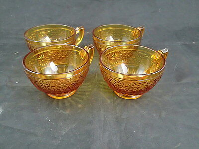 Indiana Depression Glass Amber Daisy Cups Coffee Tea Set of  4