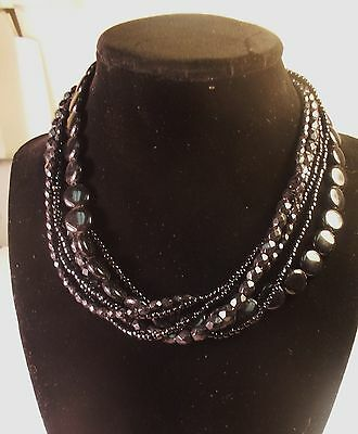 """12 Premier Designs """"Essence"""" Six Strand Necklaces Hematite plated beads, N.O.S."""