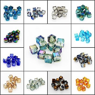 New 10PCS 10mm DIY Faceted Square Cube Cut Glass Crystal Loose Spacer Beads