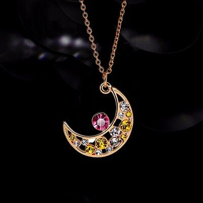 Anime Card Captor Sakura Kinomoto Moon Metal Crystal Pendant Necklace Cosplay
