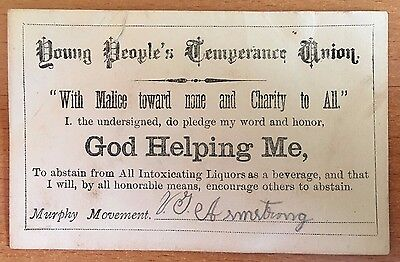 1870s YOUNG PEOPLE'S TEMPERANCE UNION Rare MURPHY MOVEMENT REFORMED ALCOHOLICS