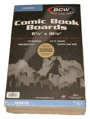 Pack of 100 BCW Modern Comic Book Acid Free Backer Boards 6 5/8 x 10 1/2 backing