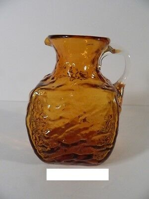 Vintage Pilgrim Glass Crinkle Nugget Amber Square Pitcher 1960s