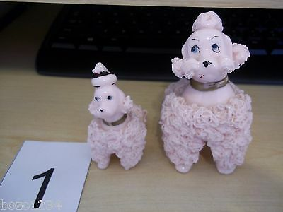"2 Vintage Porcelain Spaghetti Pink Poodle Figurines Mother 4.5"" T & Baby 3"" T **"