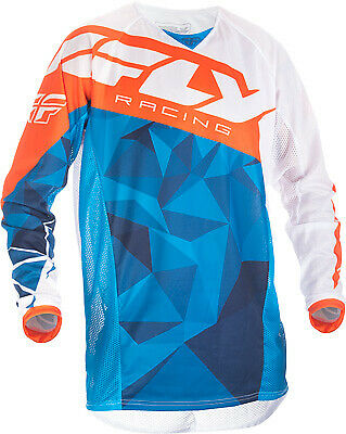 Fly Racing Kinetic Mesh Crux Jersey / Blue/White/Orange - All Sizes