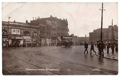 Early  HAMMERSMITH  Broadway and  Station London Photo Postcard