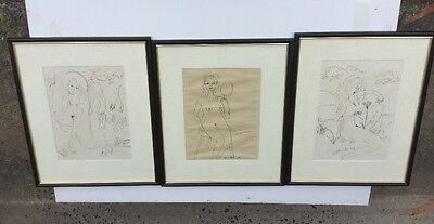 Charlotte Langley Set Of 3 Framed Drawings
