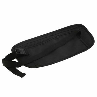 Black Travel Waist Pouch for Passport Money Belt Bag Hidden Security Wallet Us
