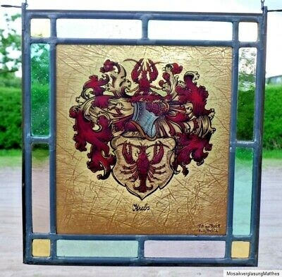"Leaded Glass Window Image Stained glass ""Cancer Emblem"" signed Pitt van Treeck"