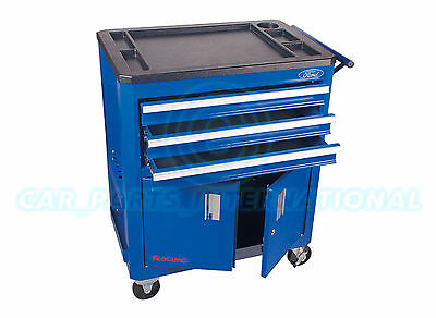 FORD TOOLS Racing -  Roller Metal tool box Cabinet with sectioned worktop