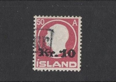 1921 Iceland 10K. on 50a overprint SG 148 fine used rare
