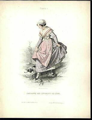Peasant of Lyon Walking Countryside c.1870 vintage old hand color costume print