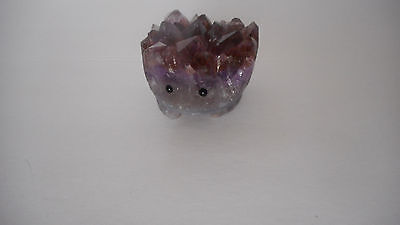 Gorgeous! carved Amethyst crystal gemstone hedgehog animal figure 108 gram