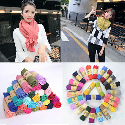 Fashion Women Long Candy Colors Silk Linen Scarf Voile Wrap Shawl Scarves Stole