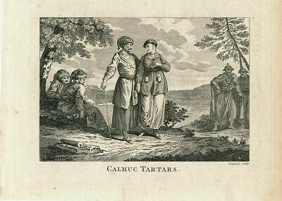 Kalmyk natives traditional costume nice ca.1780's old vintage engraved print