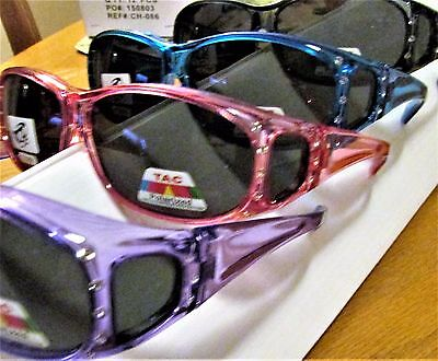 12 Pair Fit over Polarized Sunglasses with crystals  Black Wine Purple Blue