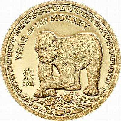 Mongolia 2016 Monkey 1000 Tugrik Gold Coin,Proof
