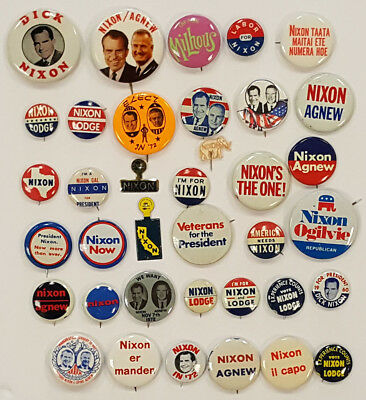 Huge Collection of 37 Different Nixon Pins & Buttons