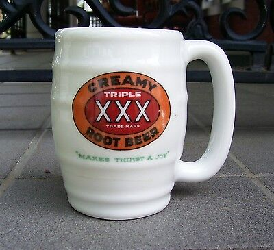 Vintage Stoneware Triple XXX Creamy Root Beer Advertising Mug