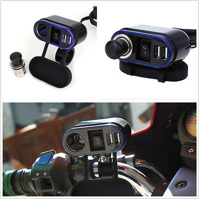 DC12V Motorycles Bikes Cigarette Lighter Power Socket Dual Phone GPS USB Charger
