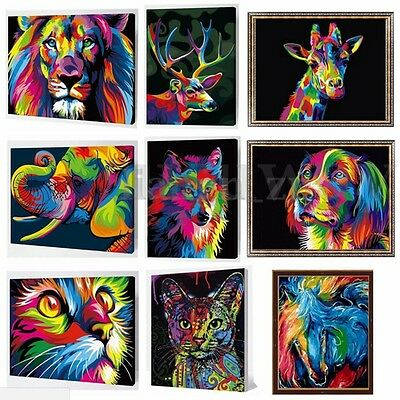 AU Number Kit Painting By Multi-Colored Cat Dog Lion Wild Animals Wooden Framed