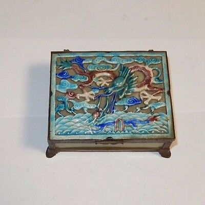 Six Panel Cloisonne Repousse Enamel Chinese Dragon Celadon Jade Humidor Jar Box