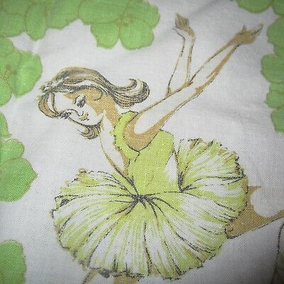 Vintage Fabric Quilt Craft Sew Lime Green Ballerina 1960S Cotton Sheet Retro Fq
