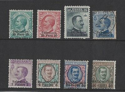 1909 Italian Post Offices in Salonica SG 133/40 mint x used set 8
