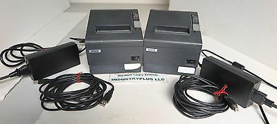 x2 EPSON TM-T88IV POS RECEIPT THERMAL PRINTERS USB M129H Gray w/Power Supply