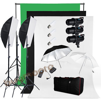 900W Photo Studio Equipment Flash Strobe Softbox Light Stand Background Kit Set