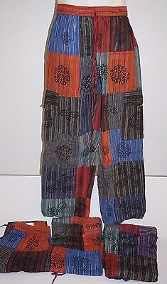 Pants Mens Tibetan cotton hippie Nepal yoga Comfy Unisex Summer printed boho