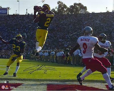 """Charles Woodson Michigan Wolverines Autographed 16"""" x 20"""" Leaping Interception"""