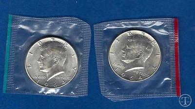 1964 P AND D 90% Silver Kennedy Half Dollars BU in Mint Cello-Two Coin Lot