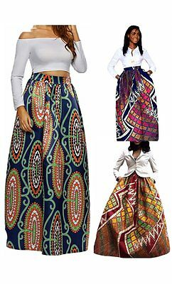 Maxi Skirt Gonna Donna Vita Alta Lunga Estate stile africano stampe morbida moda